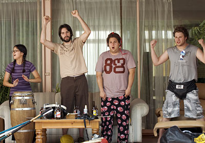Jonah Hill, Seth Rogen, ...   Ben Stone (Seth Rogen) Knocked Up (2007) Um, who's that dood over in the side yard, smoking a doobie with his friends and listening to…