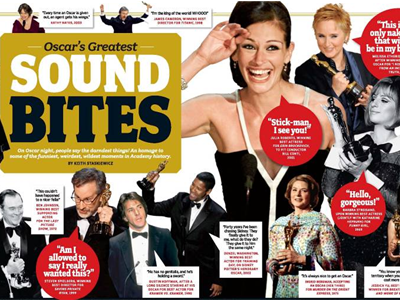 Here is a partial view of the Oscars Sound Bites gatefold. Click here to see a close-up of the entire image.