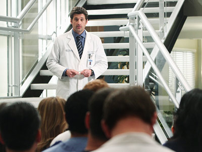 Grey's Anatomy, Patrick Dempsey | Grey's Anatomy : Taking Charge Derek's first day as the chief is a challenging one, while Cristina reminds Owen (and herself) who she is I…