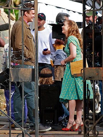 Amy Adams dressed to impress on the set of The Muppets movie in Hollywood.