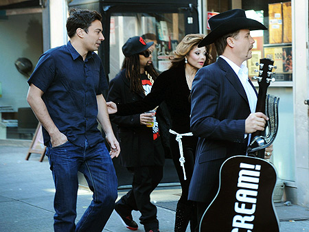 Jimmy Fallon, Lil Jon, La Toya Jackson and John Rich hit the streets while filming The Celebrity Apprentice in New York City.