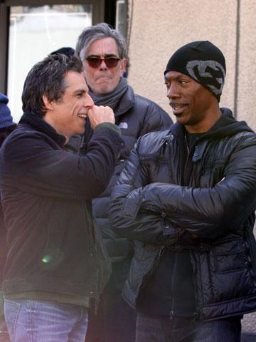 Ben Stiller, Eddie Murphy   Ben Stiller and Eddie Murphy share a laugh on the set of Tower Heist in Queens.