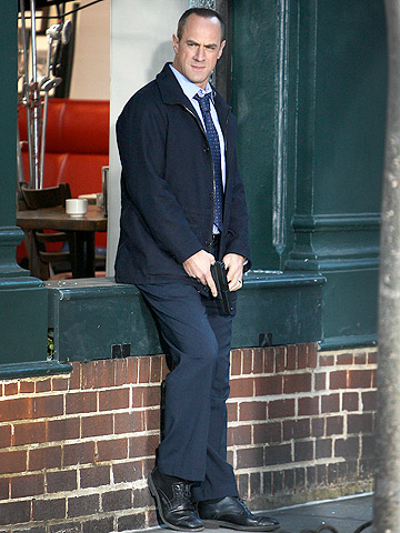Christopher Meloni looks ready to pounce while filming a scene for Law & Order: Special Victims Unit in New York.