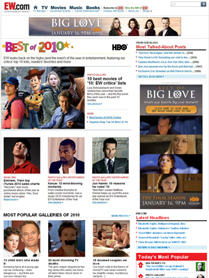 HBO owned the Best of 2010 site special, which included both a 728x90 and one of their custom units, a 300x600 expandable.