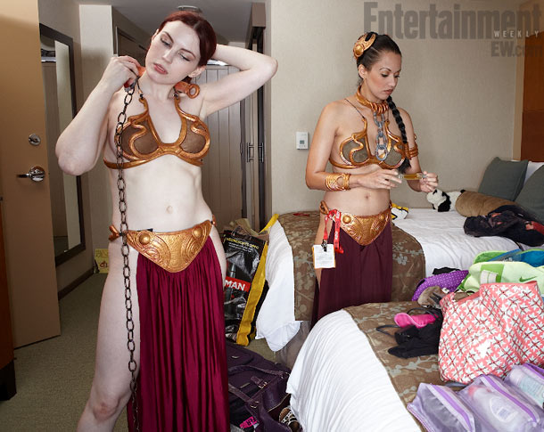 Friend and fellow slave Leia Haydn Porter joins Victoria as they put on the finishing touches.
