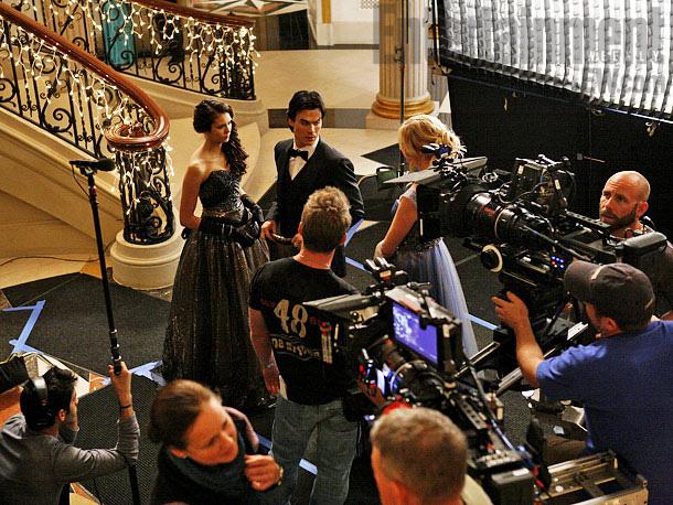 Nina Dobrev, Ian Somerhalder, ...   A parting behind-the-scenes shot. Ah, the glamour.