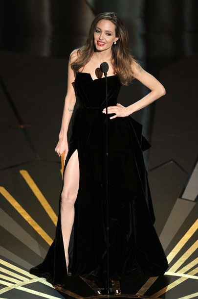 Angelina Jolie, Oscars 2012   If Woody Allen had shown up to accept his Oscar for Best Original Screenplay, we still would've had the pleasure of seeing Angelina Jolie, whose…
