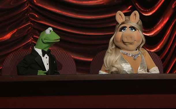 Oscars 2012, Kermit the Frog, ...   Kermit and Miss Piggy got some Oscar camera time but their seats and assignment left something to be desired. Piggy complained bitterly about their distance…