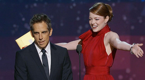 Emma Stone, Ben Stiller, ...   Emma Stone and Ben Stiller presented the award for Best Visual Effects, and the stunning redhead was so excited to be there that she just…