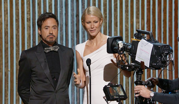 Gwyneth Paltrow, Robert Downey Jr., ...   When Robert Downey Jr. came out to present the Best Documentary Award with Iron Man costar Gwyneth Paltrow, he brought a camera crew with him.…