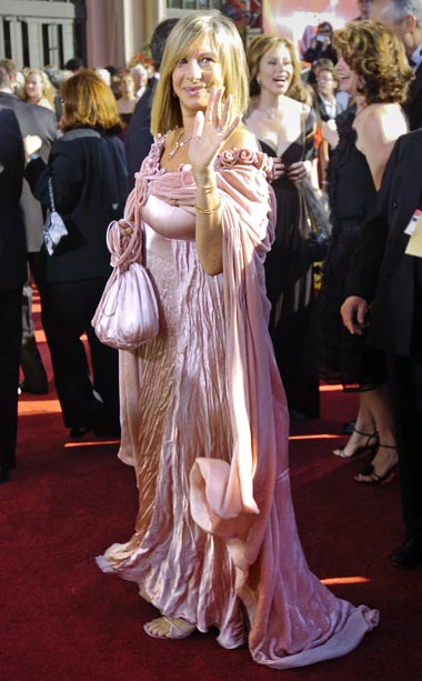 Barbra Streisand | Barbra Streisand accompanied husband James Brolin to the ceremony in 2004 wearing what my Jewish grandmother would refer to as a pink velvet ?schmatta.? When…