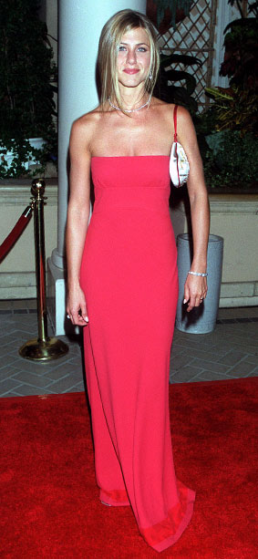 Jennifer Aniston | Now that's more like it! The Friends star didn't just look like a TV star in this Prada column dress, she looked like a movie…