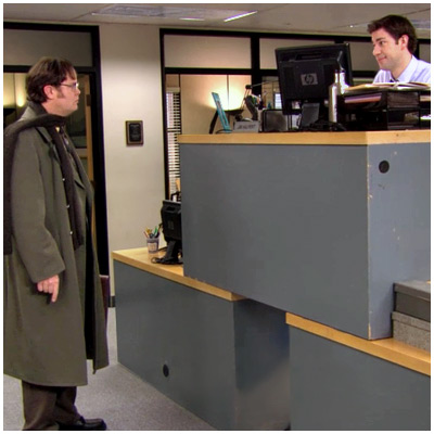 The Office | ''St. Patrick's Day'' (season 6, episode 19) What's better than one desk? A quad-desk! Dwight arrives in the office to find Jim seated atop a…