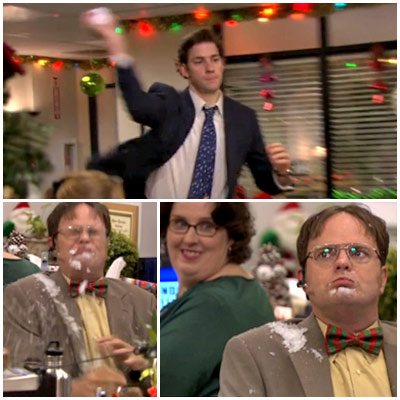 The Office | ''Classy Christmas'' (season 7, episodes 11 & 12) Jim tries to goad Dwight into some winter fun by hitting him with a snowball in the…