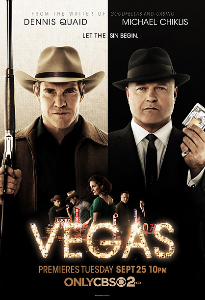 Dennis Quaid is the cowboy in the white hat with a rifle. Michael Chiklis is the mobster in the black hat with a wad of…