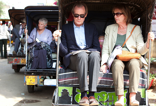 At the end of The Best Exotic Marigold Hotel , Jean (Penelope Wilton) tells Douglas (Bill Nighy) that she wants a divorce in the middle…