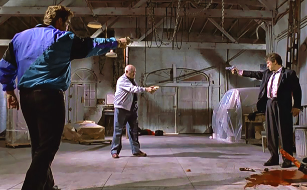 Reservoir Dogs | Variations on the ''Mexican standoff'' — the moment when three protagonists are all pointing guns at each other — appear throughout Tarantino's work. Reservoir Dogs…