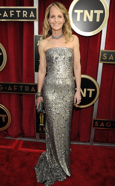 Style, Style: Red Carpet, ... | Hunt's hair and makeup were a little too understated, but her metallic strapless gown was liquid gold. B+