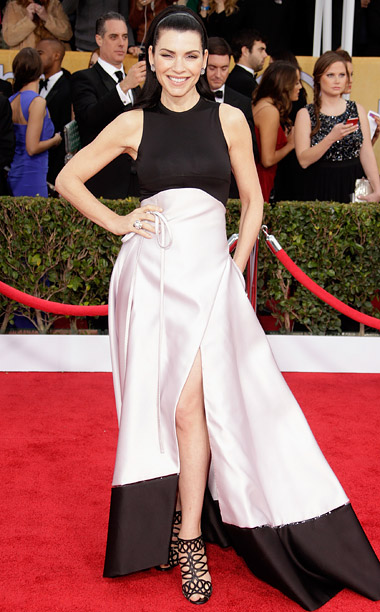 Style, Style: Red Carpet, ... | A pair of strappy ''Zigoui'' Christian Louboutin cage booties heightened the drama of the Good Wife star's black-and-white gown. B-
