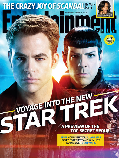 Chris Pine, Zachary Quinto, ...   For more behind-the-scenes scoops from Star Trek Into Darkness , pick up this week's EW on newsstands.