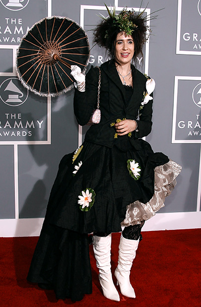 The best new artist nominee accessorized her Female Heiress dress with what she described as ''a parasol she found at Coachella,'' a ''Mohican hairstyle with…