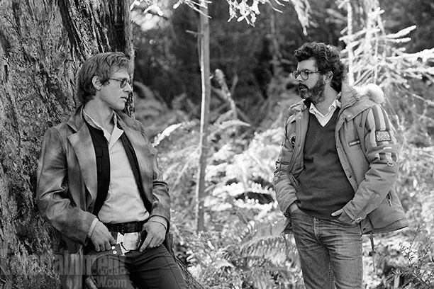 George Lucas, Harrison Ford, ... | Harrison Ford, left, with George Lucas, is the picture of detached cool in this leafy Northern California location shot. Ford was on a career tear…