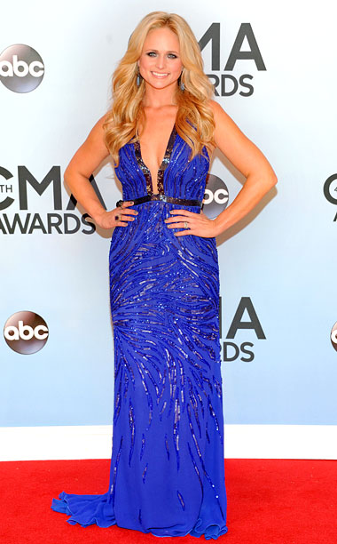 Style, Style: Red Carpet, ... | Lambert's made some questionable carpet choices in the past, so this blue halter is mostly good news. The tiger-stripey sequins add a little visual interest,…