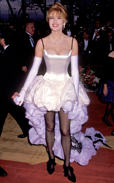 Style | In 1992, Davis was nominated for Thelma & Louise and celebrated by donning a '90s twist on French can-can girl style. Her ruffled party dress…