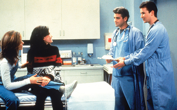 Friends   ''The One With Two Parts'' (Season 1) The ER hunks appeared as—this is a stretch—cute doctors who went out with Monica and Rachel.
