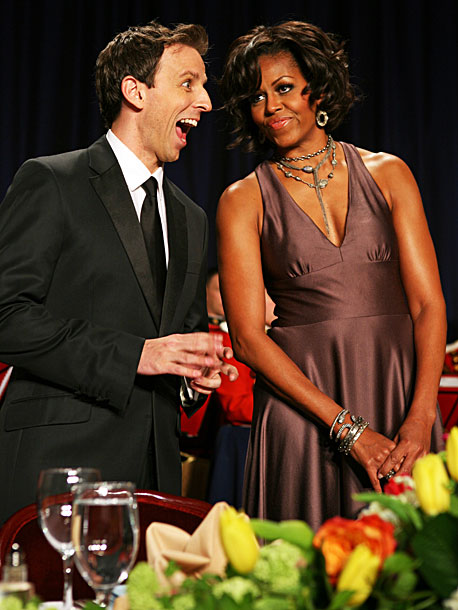 Seth Meyers, Michelle Obama   By doing a more finely honed version of his usual Weekend Update shtick — and taking extra shots at both MSNBC and CSPAN — Saturday…