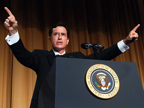 Stephen Colbert   Colbert was invited to speak by Mark Smith, an outgoing Press Corps president who wasn't very familiar with the satirist's work. He proceeded to tear…