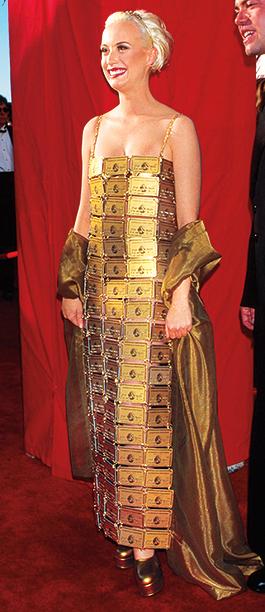 Lizzy Gardiner in a dress she designed, 1995 Academy Awards