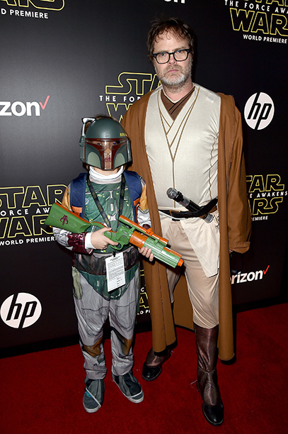 Rainn Wilson as Obi-Wan Kenobi and his son Walter Wilson as Boba Fett
