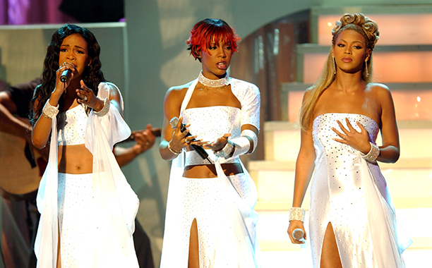Michelle Williams, Kelly Rowland,and Beyonce Knowles at the Soul Train Lady Of Soul Awards in 2001