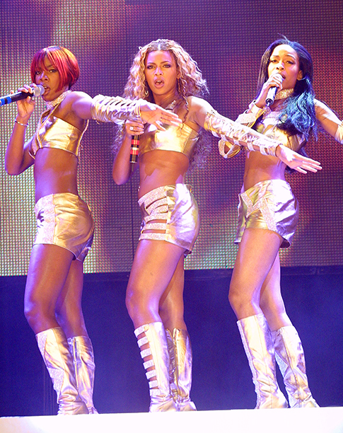 Kelly Rowland, Beyonce Knowles, and Michelle Williams on MTV's TRL Tour in 2001