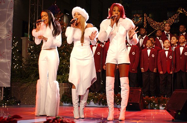Michelle Williams, Beyonce Knowles, and Kelly Rowland at the 69th Annual Rockefeller Center Christmas Tree Lighting in 2001