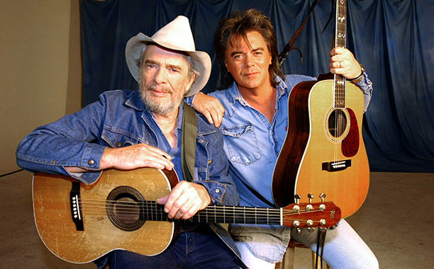 """Merle Haggard With Marty Stuart Filming the """"Farmer's Blues"""" Music Video on August 31, 2003"""