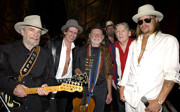 Merle Haggard With Keith Richards, Willie Nelson, Jerry Lee Lewis and Kid Rock on May 5, 2004