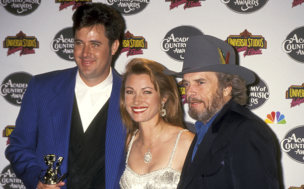 Merle Haggard With Vince Gill and Jane Seymour at the 29th Annual Academy of Country Music Awards on May 3, 1994