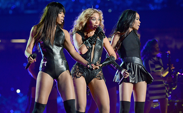 Kelly Rowland, Beyonce Knowles, and Michelle Williams at the Super Bowl XLVII Halftime Show in 2013
