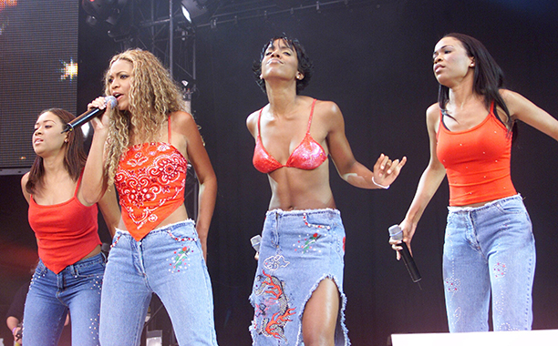 """Farrah Franklin, Beyonce Knowles, Kelly Rowland, and Michelle Williams at """"Party In The Park"""" at Hyde Park in 2000"""