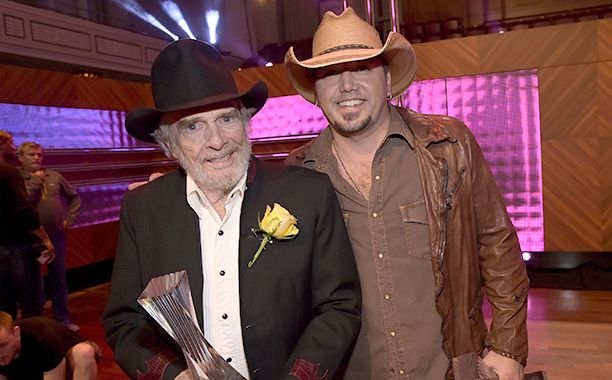 Merle Haggard With Jason Aldean at the 2014 CMT Artists Of The Year in Nashville on December 2, 2014