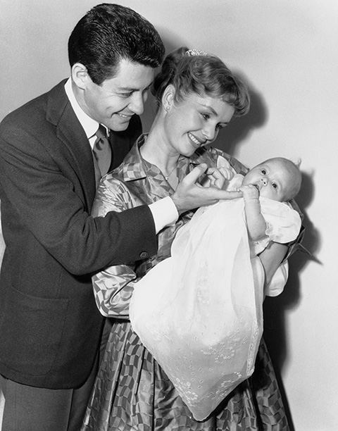 Debbie Reynolds With Eddie Fisher and Carrie Fisher on January 2, 1957