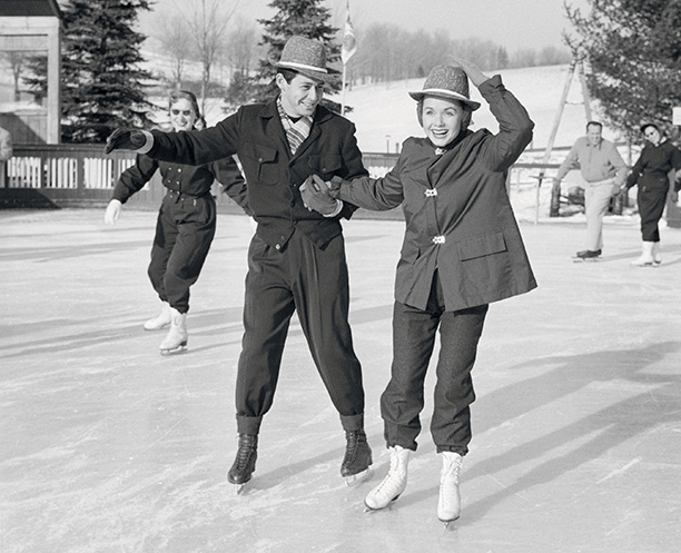 Debbie Reynolds Ice Skating With Eddie Fisher in the Late 1950s