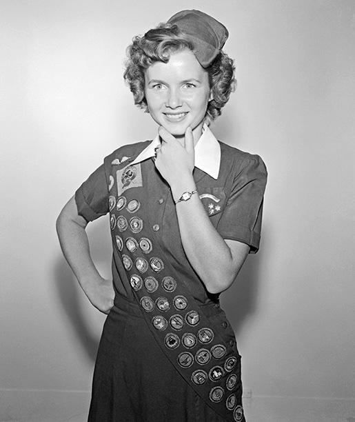 Debbie Reynolds as a Teenage Senior Girl Scout in 1949