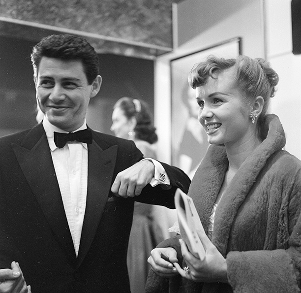 Debbie Reynolds With Eddie Fisher at the L.A. Premiere of The Country Girl on December 20, 1954