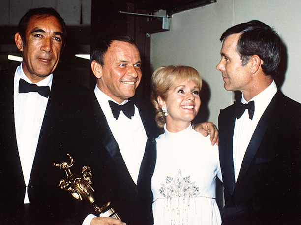 Debbie Reynolds With Anthony Quinn, Frank Sinatra, Debbie Reynolds and Johnny Carson in the 1970s