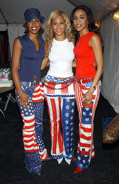 Kelly Rowland, Beyonce Knowles, and Michelle Williams at the United We Stand Concert in 2001