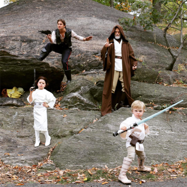 Harper as Princess Leia, David Burtka as Han Solo, Neil Patrick Harris as Obi-Wan Kenobi, and Gideon as Luke Skywalker