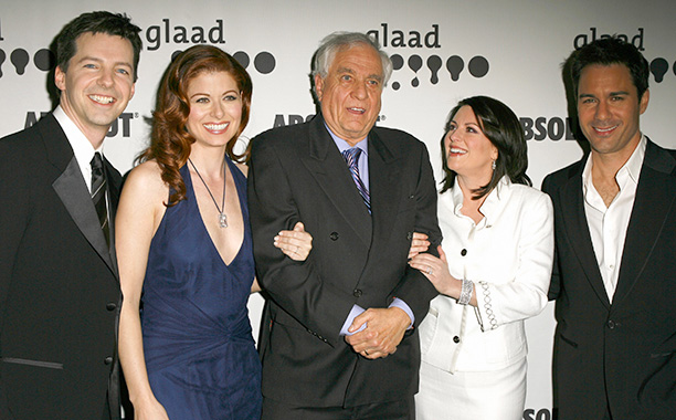 Garry Marshall With Debra Messing, Sean Hayes, Megan Mullally, and Eric McCormack at the 17th Annual GLAAD Media Awards on April 8, 2006